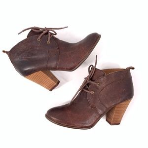 Lucky Brand Unitas Leather Lace-Up Ankle Booties